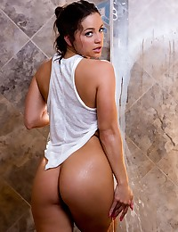 Abigail Mac all slippery and wet in the shower