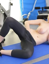 Hot brunette with huge natural tits, silky skin and big naïve eyes does some stretching during daily workout routine. However, stretching makes her blood boiling and inspires a lot of dirty thoughts. Shameless hottie loses her clothes and quickly spreads the legs in order to reach the craving hole. Small fingers gently penetrate the wet pussy and make the beauty moan from self-satisfaction. Awesome solo session from the sweet busty gymnast!