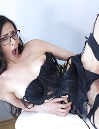 Nerdy and lustful brunette Ashley prefers wearing sexy lingerie of dark colors. Her long legs in stockings and slim figure in the corset look gorgeous, especially when the chick relaxes and begins touching her most intimate places. The babe is eager to reach the climax a few times that is why her moves become more intense and fast. At last, she cums with moans and licks the fingers covered with the juice from her fucked pussy.