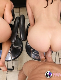 Two hot brunettes tag team guy at Salon