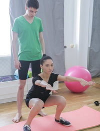 Gorgeous teenage girl seduced by her personal trainer