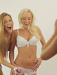 A vibrating toy gets three stunning girls off as Alexis Crystal Carla Cox and Naomi Nevena enjoy a hot lesbian threesome