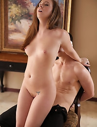 Sultry Maddy Oreilly restrains her man and licks and fucks his hard dick until they are both crazy with sexual need