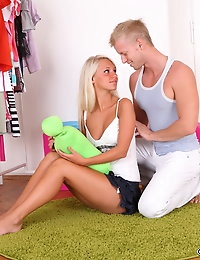Skinny teen Treza is delicious in her tank top and mini skirt and he wants a taste of the wet pussy between her legs. He gets his fingers and tongue up in there and finds the way she later sucks his cock to be deeply satisfying and arousing. His wood is best used in fucking her teenage cunt and when riding it Treza moans for more. He finishes by filling her pussy with his hot cum.