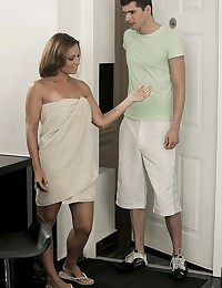 What would you do if your girlfriend's mother answered the door with nothing more than a towel covering her toned, gorgeous body? And what if Szilvia Lauren gave you a peek between her legs, let you see a hint of her pussy lips and the curls of pubic hair? When Szilvia noticed the effect she had on Kristof, and the bulge swelling in his pants, she made the decision for him, and put her mouth right on that young stud's rock hard cock. When Nataly Gold walked in, Szilvia showed Nataly how to deliver an unforgettable blowjob, and had Nataly watch as she licked the tip while tugging on the shaft. Then these lusty ladies shared Kristof's dick, and gave that lucky guy the fuck of his young life!
