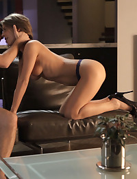 Sexy slim Presley Hart seduces her man with a hot blowjob and then takes him deep into her bald pussy for a hot fuck