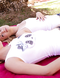 Blonde babes Odette Delacroix and Charlotte Stokely take turns enjoying a sensual lesbian pussy fingering and licking