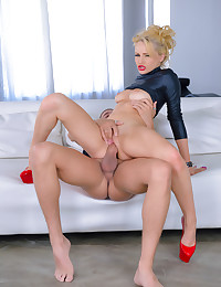 Staci Carr rides a solid shaft in her wet pussy deep