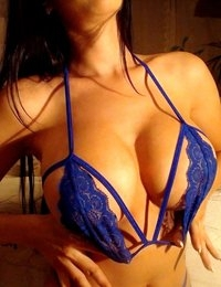Katherine Knowles shows off her body in some sexy blue lingerie