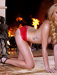 Treat for November Penelope Lynn in her red hot lingerie plays with her moist pussy