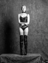 Tonight, Magdalene returns, wearing black leather lingerie and boots, and posing in front of my classic painted canvas.