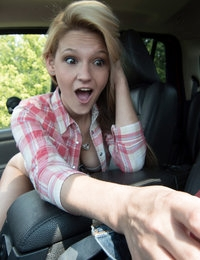 Hope Harper barters for a ride by peeling off her clothes and sucking and fucking her man until theyre both moaning