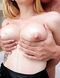 Busty blonde Iris Rose plays with her tits by the pool before going inside to get her tits felt up by Brad. She gets fucked and cums multiple times before getting her huge tits covered in jizz!