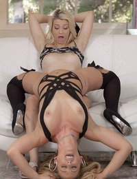 Aubrey Gold and Cherie Deville do their best to keep the romance alive. For a sexy and sultry starlet like Cherie, that means a spontaneous striptease to tease and tantalize her lesbian lover. Starting off in some strappy black lingerie and stockings, Cherie dances as Aubrey runs her hands all over her, shaking her flawless body until Aubrey can barely handle the anticipation. Bit by bit, they take each other to the edge of orgasm with their fingers and tongues, before unleashing the kind of incredible body-rocking orgasms that would keep any relationship going!