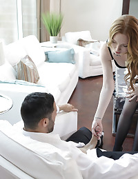 Cock craving redhead Katy Kiss gives her man a long lusty blowjob and a horny stiffie ride in her landing strip pussy