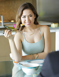 Shooting beautiful Melissa Moore is a total delight. Her sparkling eyes, full lips, gorgeous skin tone and hour glass figure demand the best that a photographer has to offer. Fortunately for us, Melissa also loves to do what cums naturally. This breakfast scene required little direction.