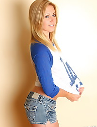 Perfect Alluring Vixen blonde Ashley Vallone shows off her round little ass in tight jean shorts