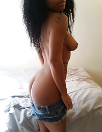 Busty black girlfriend takes pictures of her big natural tits for her boyfriend