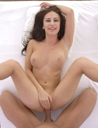 Lusty European Lana Ray seduces her man with a bra and thong striptease and a stiffie ride in her creamy bald pussy