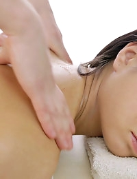 Dark haired girl with hard nipples gets rubbed down with oil and puusy played with and a blow job